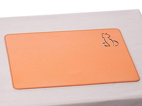 Nikalaz Set de Table, Rectangle, Rouge, en Cuir Naturel Recyclé, Stylisée avec un Chat au Laser, 40 x 30 cm (ORANGE)