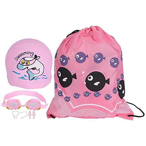 EVTSCAN Gafas de natación para niños Niños Niñas Gafas de natación antivaho Cute Crab Cartoon(Rosado)