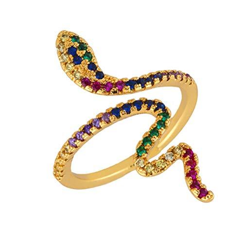 BOQIAN Anillo abierto de serpiente de 18 quilates, unisex, chapado en oro de 18 quilates, diseño de serpiente abierta, pequeño cristal (apto para novia)