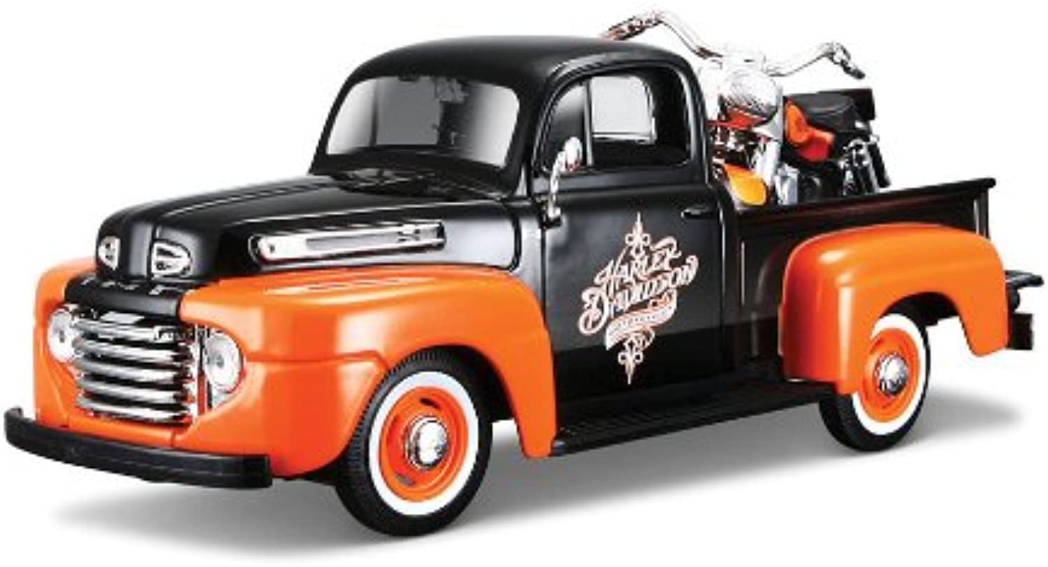 Maisto 1 24 W B Harley Davidson 1948 Ford F1 Pick up & Flh Duo Glide 1958 Diecast Vehicles