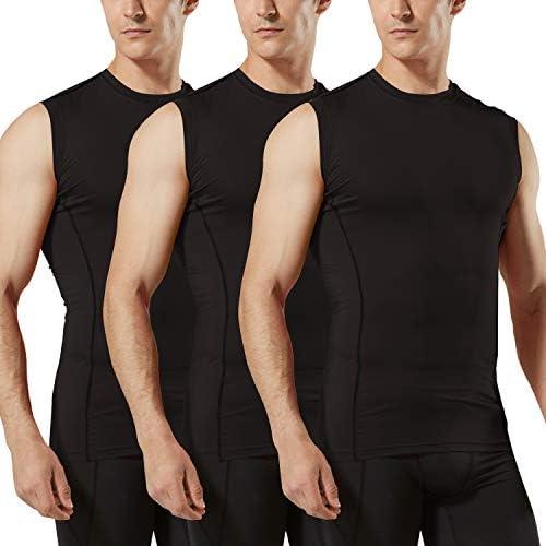 TSLA Men s Sleeveless Workout Shirts Dry Fit Running Compression Cutoff Shirts Athletic Training product image