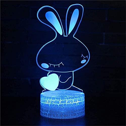 Lonfencr Luz nocturna para niños conejo 16 colores intermitente luz nocturna 16 colores cambiantes cumpleaños USB cambio con control remoto