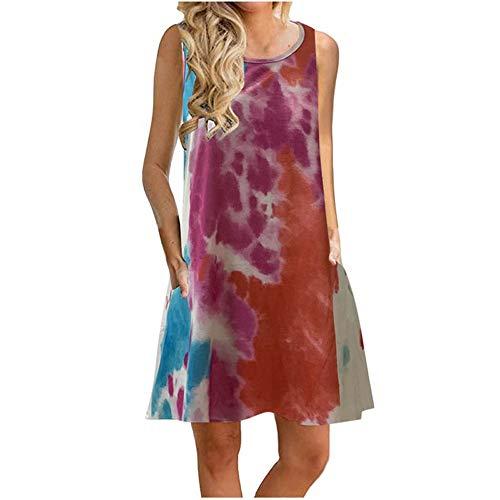 LaiYuTing Summer Tide Marke Tie-Dye-Druck Lose Tasche ärmelloses Midi-Kleid