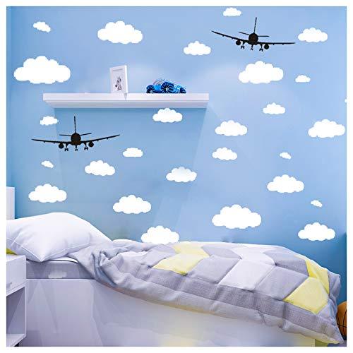 CUNYA 31 pegatinas de pared con nubes blancas y 2 unidades de aviones negros, fácil de pelar y pegar, pegatinas de papel pintado removibles para dormitorios de niñas, guardería