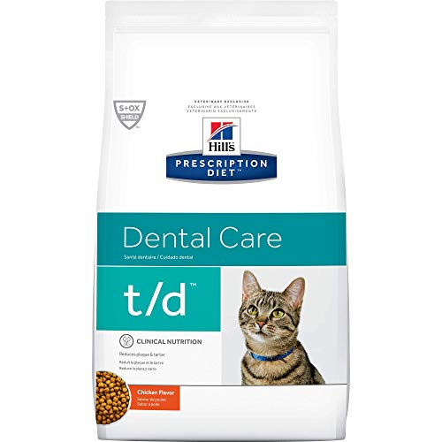 Hill's Prescription Diet t/d Dental Care Chicken Flavor Dry Cat Food, 4 lb bag