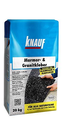 Knauf 201270 20 kg Granitkleber 20-kg Klebstoff Kleber zum Verlegen von Natursteinen, Fliesen, Glas-Mosaik und Marmor, innen und außen, zementgrau