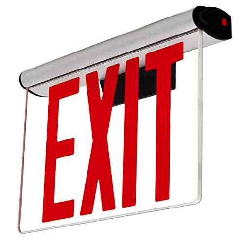 """LFI Lights - UL Certified - Hardwired Red Edge Light LED NYC Exit Sign - New York Approved 8"""" Lettering - Rotating Panel…"""