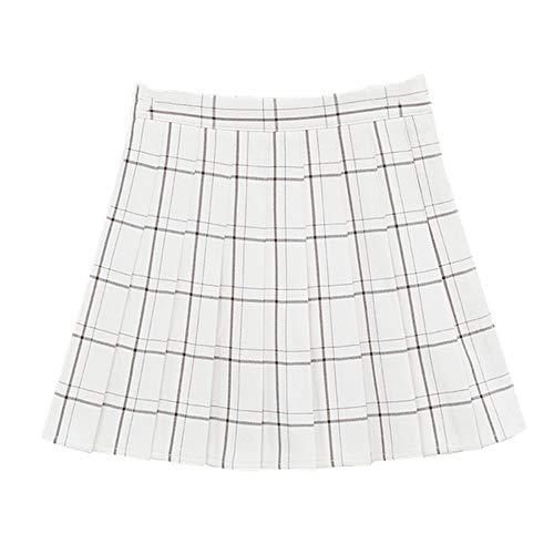 N\P Falda plisada para mujer de cintura alta a cuadros