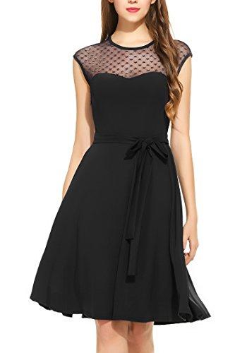 Zeagoo Damen Vintage 50er Jahr Rockabilly Kleid Swing Cocktailkleid Abendkleid Elegantes Kleid, Schwarz, Gr.- 42 EU/ Large