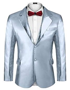COOFANDY Men s Shiny Suit Jackets Tuxedo Blazer Party Prom Wedding Nightclub