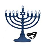 Rite Lite Blue Plastic Electric LED Low Voltage Chanukah Menorah with Clear Bulbs - Hanukkah Menorah Battery or USB Powered - Includes a Micro USB 4' Charging Cable