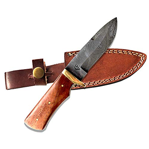 Fellmark Damascus Steel Hunting Knife with Sheath Kratt Scandi Grind Bushcrafting Knife 7.9' Full Tang Camping Blade