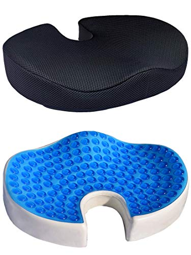 iMedic Cooling Gel Seat 100% Memory Foam Cushion - Coccyx Cut Out - Orthopaedic Tailbone Seat Pad for Sciatica, Back and Tailbone Pain - for Home, Office, Car and Yoga - (Black 3D Mesh)