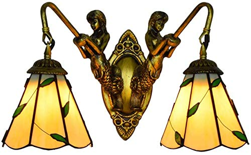XUHRA 6 Pulgadas Aplique de Estilo Tiffany, Pantalla de Vidrio Manchado Dentro del Refugio, Multicolor lámpara de Pared para la Vida