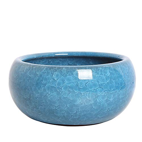 Großer Blumentopf, Eisrissiger Hydrokultur-Blumentopf, Keramik-Narzissen-Blumentopf, für den Innenbereich, Lotus-Becken, Sukkulenten-Platte, Waschbecken (blau)