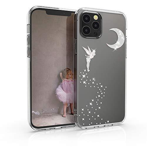 kwmobile Hülle kompatibel mit Apple iPhone 12/12 Pro - Handyhülle Silikon Hülle - Fee Glitzer Silber Transparent