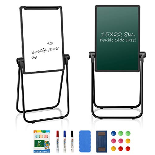 "JOYOOSS 15"" x 22.8"" U-Stand Whiteboard Portable Magnetic Easel Dry Erase Board Height Adjustable Rotating Foldable & 360° Rotating Flipchart Easel for Home Office School Outdoor (Black)"