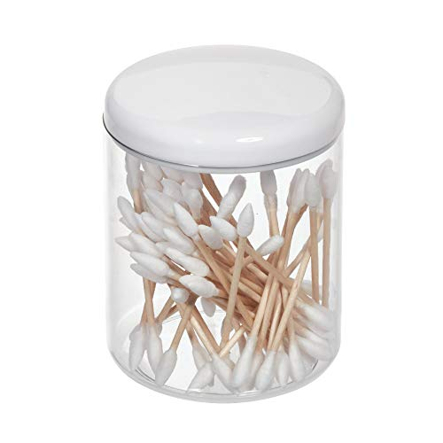 Price comparison product image iDesign Cosmetic Storage Jar with Lid,  Small Sink and Dressing Table Organiser Made of Plastic,  Round Bathroom Storage for Cosmetics,  Makeup and Jewellery,  White / Clear
