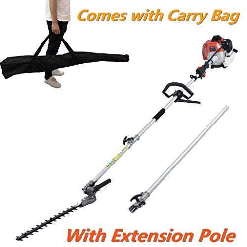 MAXTRA Gas Pole Hedge Trimmer, Cordless Multi-Position Telescoping Hedge Trimmer with 3.6 ft Extension Comes with Pole Saw Weed Brush Eater Attachment