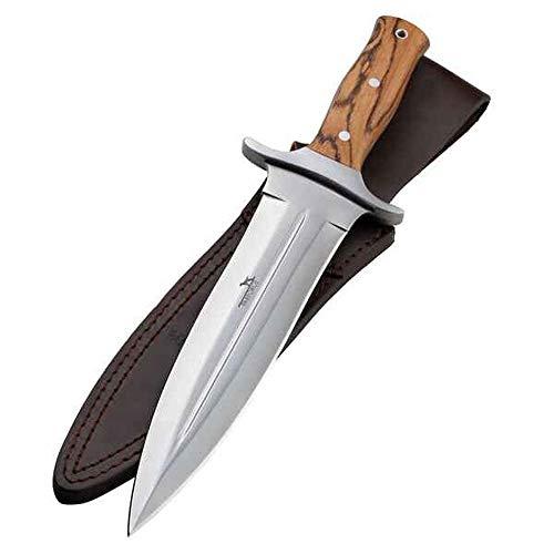 PARFORCE Messer Saufänger Abfangmesser Boar Hunter Pakka - 440-Stahl mit Schweißrinne und attraktive Pakkaholz- Griffschalen