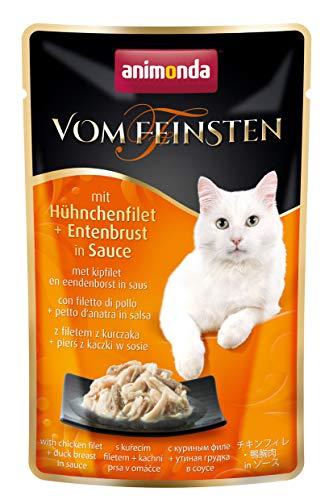 animonda Vom Feinsten Adult Katzenfutter, Nassfutter für ausgewachsene Katzen, mit Hühnchenfilet + Entenbrust in Sauce, im Frischebeutel, 18 x 50 g