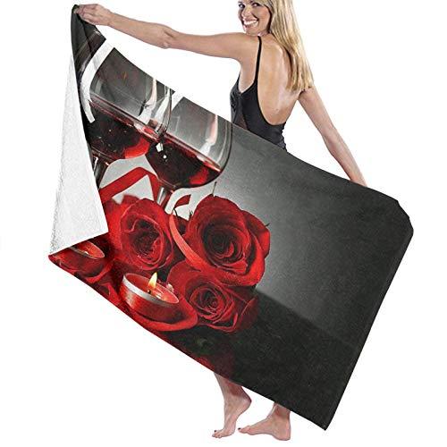 NANITHG Toalla de Playa,Composición con Vino Tinto en Copas,Rosa roja y corazón Decorativo,Toallas de Baño Toallas de Acampada Piscina Natación Playa Toallas de Mano Ducha Toallas de Mano