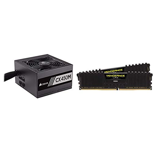 Corsair CX Series 450 Watt 80 Plus Bronze Certified Modular Power Supply & Vengeance LPX 16GB (2x8GB) DDR4 DRAM 3200MHz C16 Desktop Memory Kit - Black (CMK16GX4M2B3200C16)