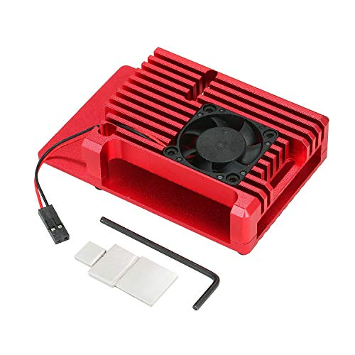 Taidallo DIY aluminiumlegering doos voor Raspberry Pi 4 metalen behuizing beschermhoes met ventilatoren Raspberry Pi-wapeningskist rood