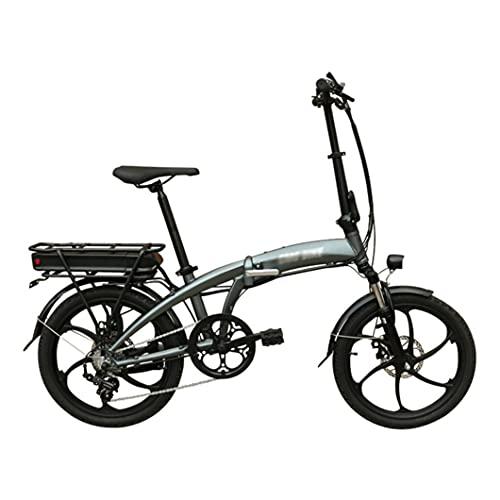 ZXQZ Bicicletas Eléctricas Plegables para Adultos, Asistencia de Potencia, Batería de Iones de Litio de 48 V, Bicicleta Eléctrica con Ruedas de 20 Pulgadas y Motor de Buje de 350 W (Color : Grey)