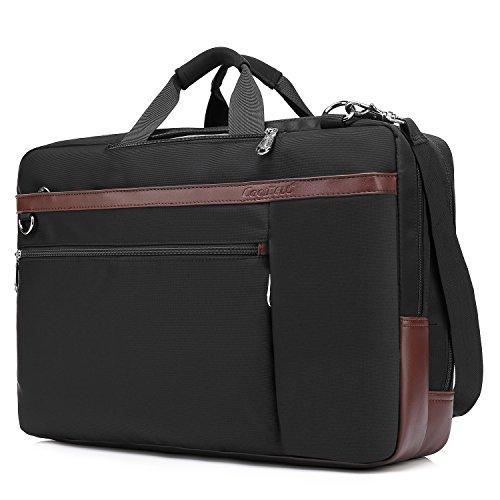 CoolBELL Convertible Backpack Shoulder Bag Messenger Bag Laptop Case Business Briefcase Leisure Handbag Multi-Functional Travel Rucksack Fits 17.3 Inch Laptop for Men/Women/Travel (New Black)