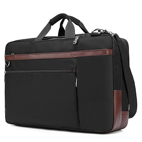 CoolBELL Convertible Backpack Shoulder Bag Messenger Bag Laptop Case Business Briefcase Leisure Handbag Multi-Functional Travel Rucksack Fits 17.3 Inch Laptop for Men/Women/Travel (New Black)