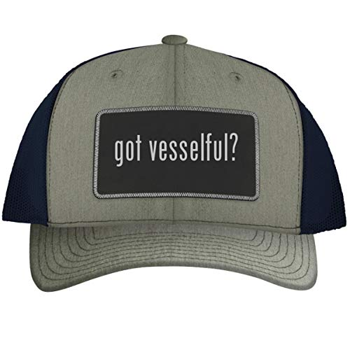 got Vesselful? - Leather Black Metallic Patch Engraved Trucker Hat, Heather-Navy, One Size
