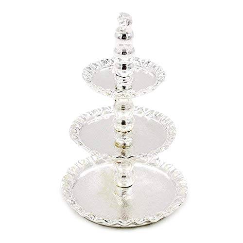 Odoria 1/12 Miniatur Geschirr 3-Tiered Früchte Desserts Kuchenstand Silber Servierplatte Für Puppenhaus Küche Zubehör