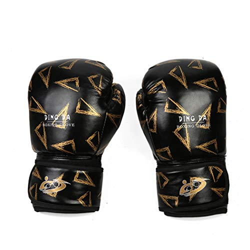LBYSK Boxhandschuhe Sanda Youth Training Muay Thai OPF Handschuhe Männer und Frauen Erwachsene Kinder Boxhandschuhe volle Finger-Handschuhe,Schwarz,8oz