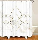 MundW DAS DESIGN Duschvorhang Gold Linie Mamor Raute Badezimmer Textil Vorhang Antischimmel Effekt waschbar 12 C-Ringe Farbefest Gewicht unten 180x200(B*H) cm