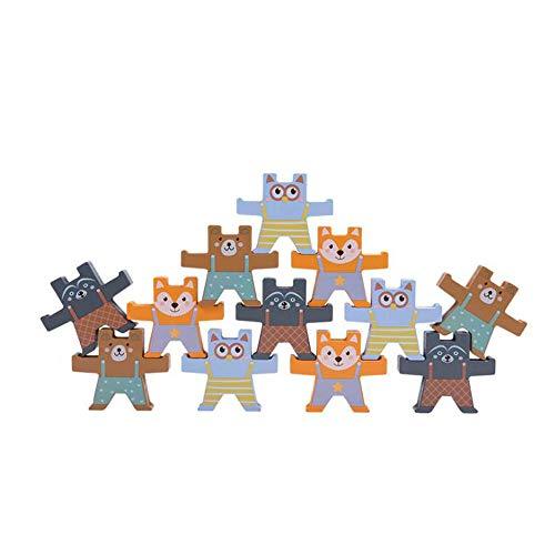 HSCW Juguetes de bloques de construcción equilibrados, juguetes de madera apilables con forma de oso de color de dibujos animados, juguetes educativos de educación temprana para padres e hijos, regalo