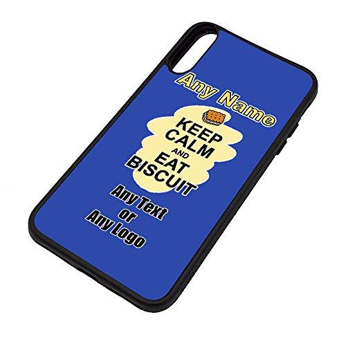 Gepersonaliseerd geschenk - Houd Kalm Eet Biscuit iPhone Xs/Xs Max/XR Case (Voedsel Design) Elke Naam Bericht Unieke Apple TPU Cover - Draag Poster Party Dieet Snack Cake Chocolade Vis Pizza Chips