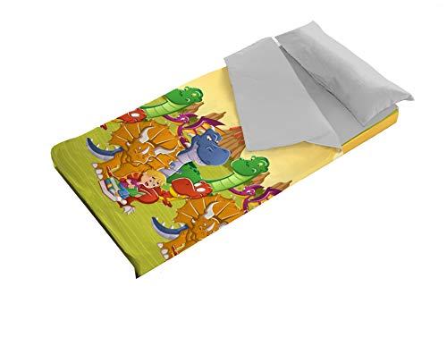 Denisa Home - Saco Nórdico Infantil Dinos para Cama de 90 o 105 cm - Interior de Coralina (105 cm)