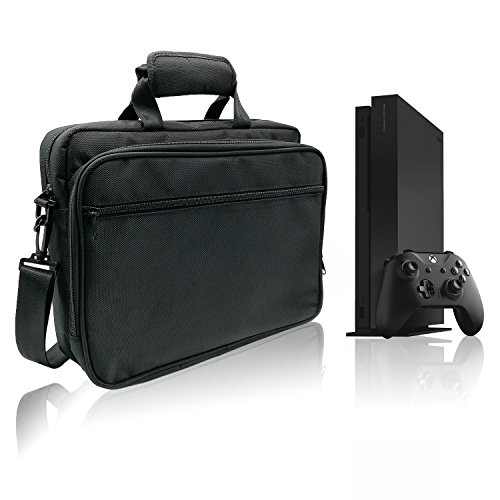 Multi-Function Carrying Case for Xbox One X Console, Controllers, Games and More with Accessory Storage Pockets, Project Scorpio Edition Console Carrying Box