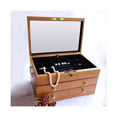 ZYL-YL Multi-functional Solid Wood Belt Lock Cloth Casket Jewellery Box Pearl Box Archaize Color (Color : Wood)