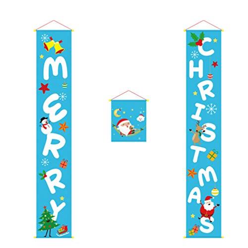 Amosfun Vrolijke Kerstmis Porch Banners Blauw Kerstmis Veranda Achtergrond Xmas Hangende Banners Voordeur Gordijn Decoratie voor Thuis Deur Kerstmis Hangende Teken