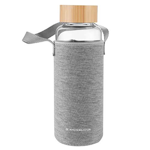 DE.KITCHEN&HIFUN Botella de agua de cristal de 1 l, 1000 ml, para oficina, cristal de borosilicato transparente con funda de neopreno, 1 L, para beber al aire libre
