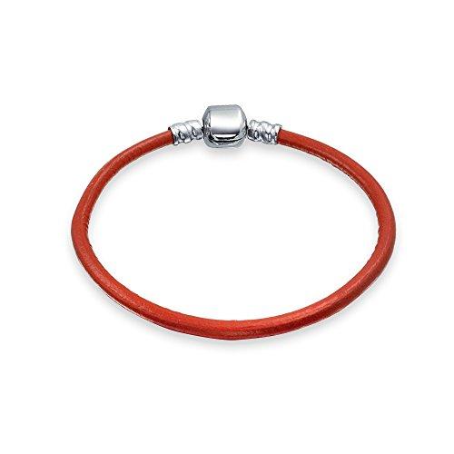 Bling Jewelry Starter Rojo Genuino Cuero Pulsera para Las Mujeres para Adolescente se Adapta a Las Cuentas Europeas Encanto 925 Plata de Ley 7.5 Pulgadas