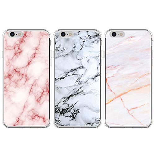 3x Funda para iPhone 6 Plus/iPhone 6S Plus, Case Flores Carcasa TPU Protectora Watercolour Clear Backcover Ultra Delgado Suave Silicone Cover en relieve Cubrir, Mármol