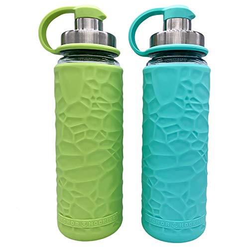 Anchor Hocking Life Wasserflaschen aus gehärtetem Glas, mit Silikonhülle, 2 Stück, je 19,5 Unzen, BPA-frei, breiter Öffnung, auslaufsicher, Wiederverwendbare Wasserflaschen, Limettengrün und Minzgrün