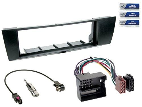 NIQ Baseline Connect Kit complet d'installation d'autoradio 1-DIN compatible avec BMW Série 1 / Série 3 (Type E87 / Type E90-93) Noir