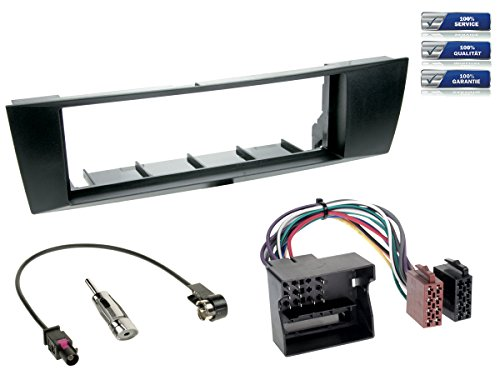 NIQ 1-DIN Radioeinbau-Komplettset kompatibel mit BMW 1er / 3er (Typ E87 / Typ E90-93) *schwarz*