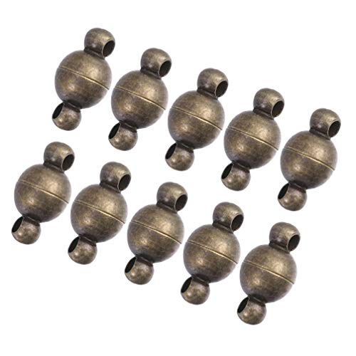 MILISTEN 10 Piezas de 6MM de Latón Cierres Magnéticos de Joyería Conectores de Cierre Magnético Convertidor de Imán Redondo para La Fabricación de Pulseras de Collar de Joyería DIY (Latón