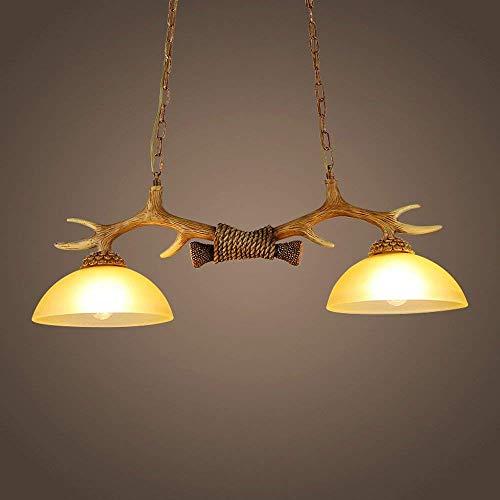 L-YINGZON comodino e Lampade da tavolo, Resina Deer Head Lampadari annata, retro industriale LED di vetro di illuminazione lampadario in ferro a soffitto lampade antiche Modern Living sala da pranzo T