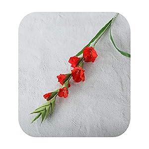 Silk Flower Arrangements Funlife-Shop 99Cm 6 Head Artificial Gladiolus Decor Home Garden Wedding Flower Arrangement Gladioli Fake Plants Silk Red White Pink Wholesale-Red-